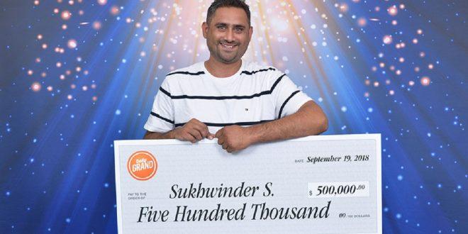 Sukhwinder Sidhu of Surrey wins $500,000 in Daily Grand Bonus Draw
