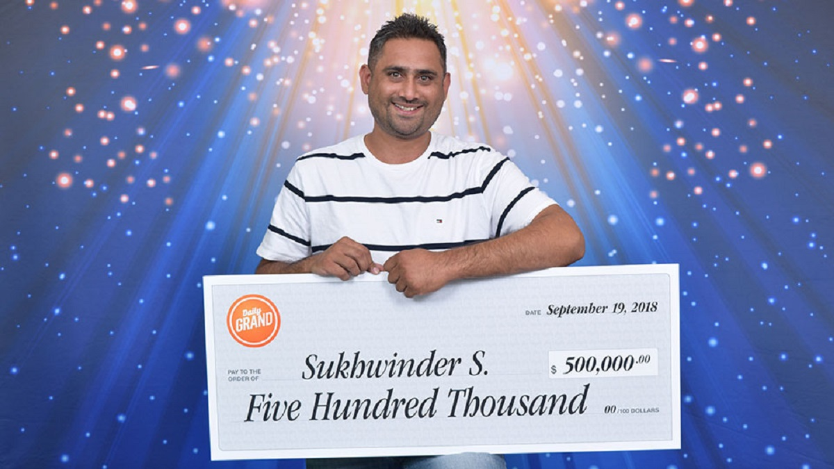 Sukhwinder Sidhu of Surrey wins $500,000 in Daily Grand Bonus Draw