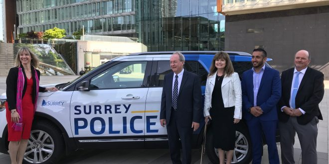Mayor Doug McCallum unveils marked Surrey Police vehicle during his State of the City Address